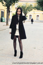 black hakei coat - black Zara boots - white Mango dress