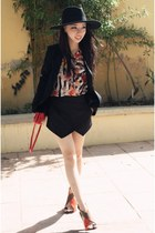 Zara blazer - H&M hat - Zara bag - Zara blouse - Zara sandals - Zara skirt
