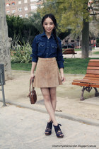 suede H&M skirt - denim Zara shirt - Bimba&Lola bag - laceup Zara sandals