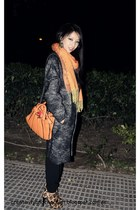 leopard print Zara boots - charcoal gray ZARA STUDIO coat - tawny vintage scarf
