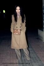 wool camel Mango coat - Massimo Dutti scarf - Bimba&Lola bag - Mango pants