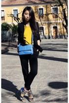 Zara bag - Mango blazer - Mango pants - H&M earrings - Zara top - Zara sandals