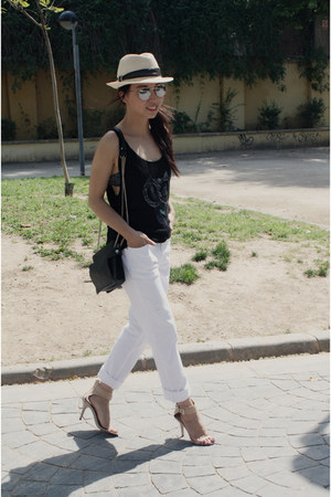 el corte ingles hat - Zara jeans - Zara bag - H&M sunglasses - Mango top