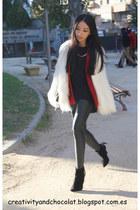 burgundy Zara blazer - pointy ankle Zara boots - faux fur Zara coat