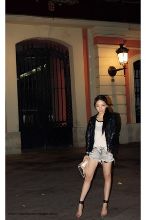 leather pull&bear jacket - Mango shirt - Zara purse - Zara shorts