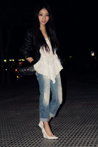 Mango jeans - leather Zara jacket - Zara blouse - Mango heels