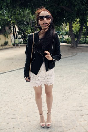 BLANCO skirt - leather jacket H&M jacket - Zara bag - H&M sunglasses - Zara top