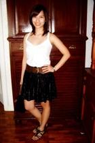 sm dept store top - Charlotte Russe belt - H&M skirt - payless - longchamp purse