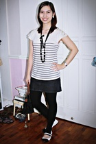 Topshop top - Charlotte Russe shoes - black leggings - black necklace Mphosis