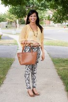 Ralph Lauren bag - H&M pants - Katie Clothing blouse - Spring wedges - H&M belt