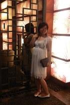 white dress - dark brown purse - off white flats