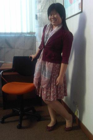 maroon scallop blazer - Parisian scarf - flower vintage skirt - teal basic top