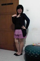 black Zara top - pink skirt - navy cardigan - dark brown flats