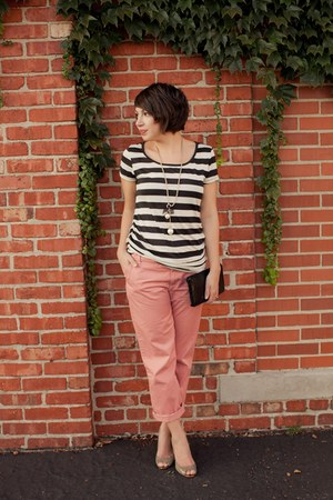 salmon JCrew pants - dark khaki Nine West heels