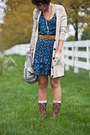 Brown-kohls-boots-blue-abercrombie-and-fitch-dress-beige-aerie-cardigan