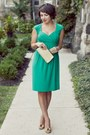 Dark-khaki-thrifted-heels-teal-macys-dress-dark-khaki-thrifted-vintage-bag