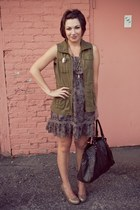 olive green Old Navy vest - puce XXI dress