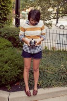 mustard striped JCrew sweater - navy denim Ralph Lauren shorts