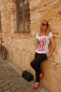 Red-leather-zara-shoes-black-h-m-bag-black-orsay-pants-new-yorker-t-shirt
