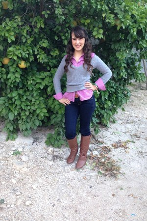 brown Forever 21 boots - bubble gum American Eagle blouse