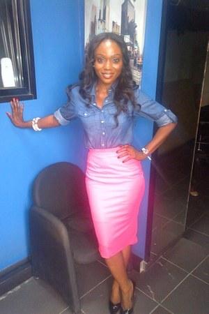 pink skirt cherishcouture skirt - jean shirt Primark jeans