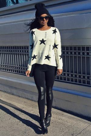 crown vintage shoes - Choies sweater - f21 leggings