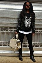 f21 sweater - Express jacket - Zara bag
