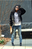 asos bag - Express coat - Vigoss jeans - Sheinside sweatshirt