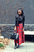 red Brooks Brothers skirt - Michael Kors boots - H&M top