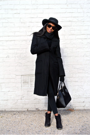 Sheinside top - black Zara boots - bcbg max azria coat - Ebay bag