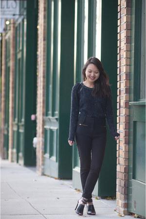 navy Sugarlips sweater - black H&M pants - black asos heels
