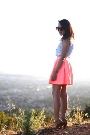 salmon Nasty Gal skirt - sky blue vintage shirt - camel Forever 21 heels