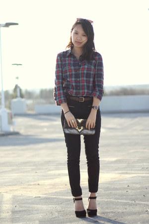 black Nine West pumps - black H&M pants
