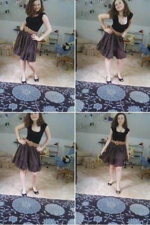 black shirt - brown Old Navy skirt - brown belt - black Bass shoes - green Forev