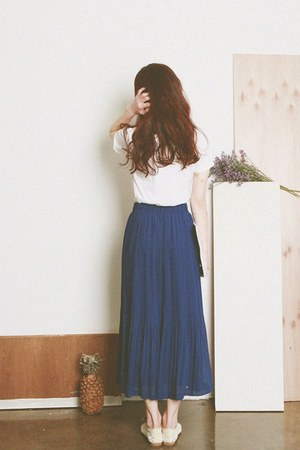 Off White shoes - white blouse - Blue skirt