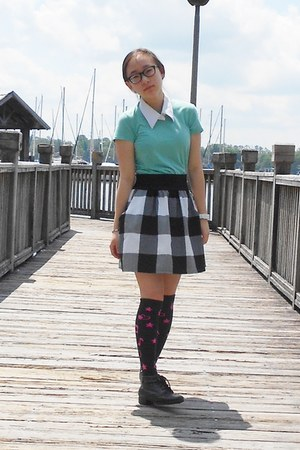 thrifted plaid Body Central skirt - JC Penny boots - thrifted t-shirt