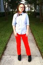 Black-liz-baker-boots-red-loft-jeans-light-blue-button-up-gap-shirt