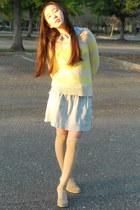 light yellow knitted Loft sweater - light blue button up Forever 21 shirt