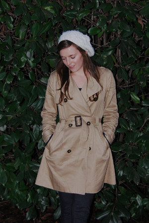 trench H&M coat - white hat - jeggings TJ Maxx leggings