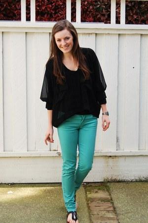 teal Zara jeans - black Lush top - black Target sandals