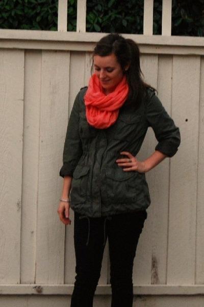 black Forever 21 jeans - parka H&M jacket - coral H&M scarf