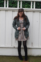 Minnetonka boots - floral dress - parka H&M jacket - patterened Pac Sun tights