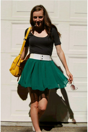 green Forever 21 skirt - Forever 21 dress - yellow Urban Outfitters bag