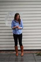brown leather Steve Madden boots - black Forever 21 jeans - blue linen 10 Store