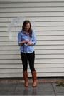 Brown-leather-steve-madden-boots-black-forever-21-jeans-blue-linen-10-store-