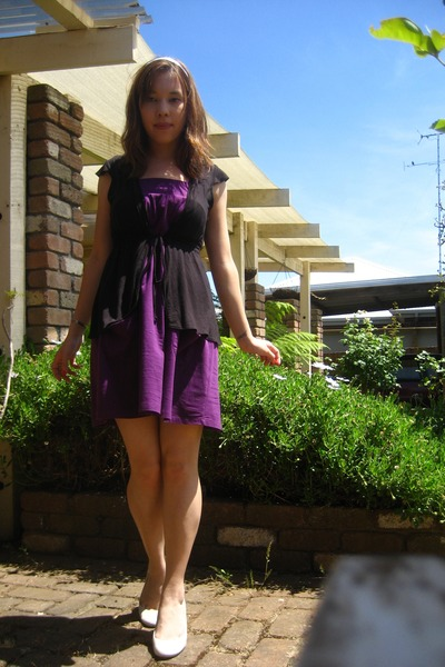 White Shoes Purple Dress