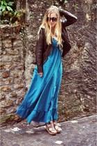 turquoise blue maxi Forever 21 dress - dark brown leather jacket BURGER jacket -