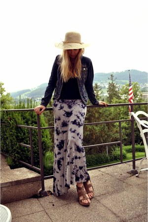 beige floppy hat - navy denim Aeropostale jacket - black tanktop Delias shirt -