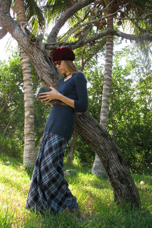 red vintage hat - blue merona sweater - vintage skirt - brown hand me down shoes