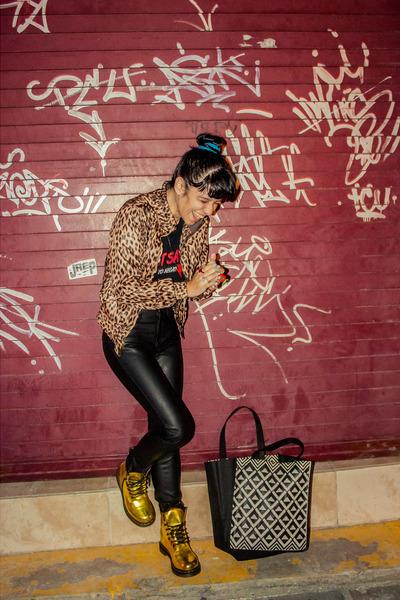 gold Dr Martens boots - camel animal print Charlotte Russe jacket
